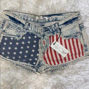 Gypsy Flag Patriotic Jean Shorts